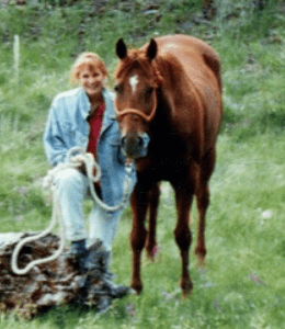 Dr. Mahoney with her horse Rock